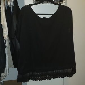 Black sweater with lace
